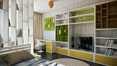 Colorful kids room wall cupboard- interior design and decoration ideas for children living areas