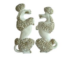 Vintage Pair Two Chalkware Poodles Cream by MargsMostlyVintage, $65.00