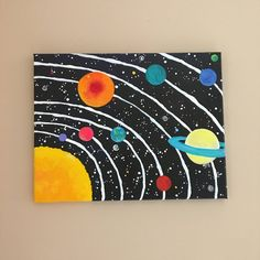 Space Art for Kids Room, Solar System inch acrylic space painting for space themed childrens room or baby nursery decor - Kids rooms Kids Canvas Art, Simple Canvas Paintings, Small Canvas Art, Easy Canvas Painting, Cute Paintings, Easy Painting For Kids, Acrylic Canvas, Paintings For Kids Room, Acrylic Painting For Kids