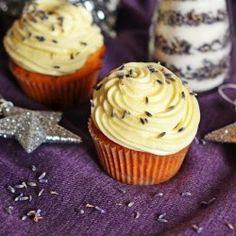 White chocolate lavender cupcakes
