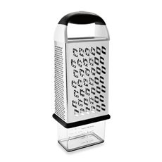Oxo Good Grips Box Grater with Storage   Large box grater with stainless steel construction features versatility and innovation. Has coarse, fine and super-fine grating surfaces plus a slicing surface. Includes an attachable container for measuring and storing freshly grated ingredients. Grate on a plate or flat surface, or directly into the container. Also features Oxo's non-slip soft grip handle and a non-slip bottom ring on grater and container. Dishwasher safe. - Bed Bath & Beyond