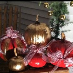 Recycled Pumpkins! Don't let your pumpkins go to waste and dress them up for the holidays! Merry Christmas!