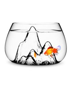 fish bowl designed by Aruliden for Turkish design brand Gaia and Gino. The Fishscape is a gallon handmade glass fish bowl with a textured interior landscape that gives its little dwellers a fun setting to swim around. Vinyl Skirt, Glass Fish Bowl, Goldfish Bowl, Goldfish Aquarium, Pet Goldfish, Fish Aquariums, Fantail Goldfish, Cool Fish, Mountain Designs