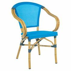 """Indoor/outdoor arm chair features a bamboo-inspired frame and tiel woven seat. Dimensions: 34.6"""" H x 22.4"""" W x 22.4"""" D"""