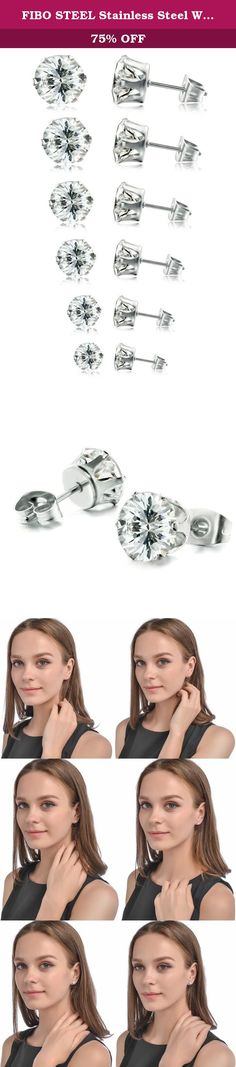 FIBO STEEL Stainless Steel Womens Stud Earrings Cubic Zirconia Inlaid,3mm-8mm 6 Pairs. FIBO STEEL - I never wanted to be your whole life. Just your favorite part. FIBO STEEL main engage in selling all kinds of high quality stainless steel jewelry at affordable price. Best shopping experience is our main goal that we try our best to arrive all the time. Fibo Steel - Do what we say, say what we do. In order to let you have a happy shopping experience,we have done and will do as follows;...