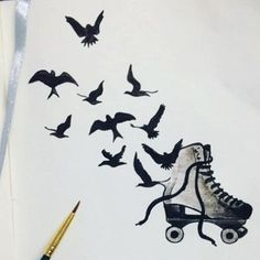 eupatino's photo on SnapWidget Roller Skating, Ice Skating, Amazing Drawings, Art Drawings, Skater Tattoos, Best Roller Skates, Tatto Old, Roller Derby Girls, Derby Skates