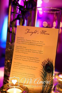 Menu cards for Babbo Italian Eatery at Aldea #peacockwedding