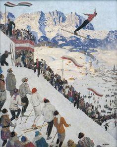 """Alfons Walde: """"Grubschanze bei Kitzbühel"""" zeigt den Wettbewerb der Nordischen Kombination 1925."""