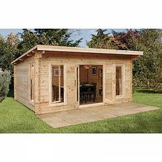 The Mendip is our largest contemporary styled log cabin in our highest specification finish. It is manufactured from smooth planed interlocking logs and is double glazed throughout. Backyard Office, Backyard Sheds, Garden Office, Outdoor Sheds, Shed Design, Roof Design, Tiny House Design, Garden Log Cabins, Wooden Sheds