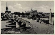 Ansichtskarte / Postkarte Wolin Wollin Pommern, Blick auf die Brücke und Stadt