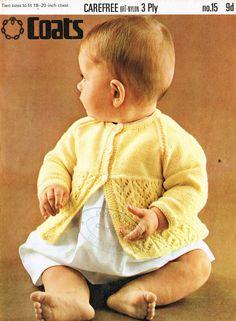 Coats 15 baby matinee coat vintage knitting pattern by Ellisadine, £1.00