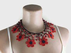 Oya Beaded Necklace / Crocheted Daisy Necklace /Black Choker /