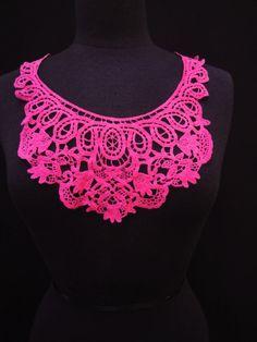 Hot Pink Fuchsia Cotton Crochet Syle Venice Lace Applique Floral Applique Bodice Embellishment Bodice Insert Folk Costume S122