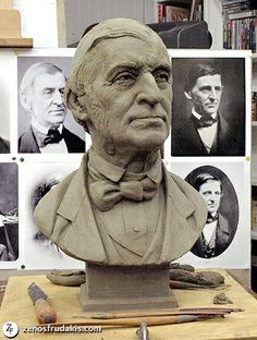 Ralph Waldo Emerson sculptural bust, work in progress. Sculptor: Zenos Frudakis. Ralph Waldo Emerson (1803 – 1882) was an American essayist, lecturer, and poet, who led the Transcendentalist movement of the mid-19th century.