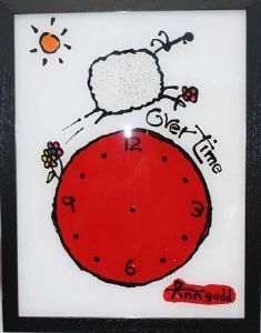 Original painting on perspex.Includes clock mechanism and hands. Ewe Sheep, Awesome Stuff, Online Art, Silhouette Cameo, Original Paintings, Ann, Clock, African, My Favorite Things