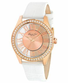 Kenneth Cole New York Watch, Women's White Croco Grain Leather Strap 39mm KC2728 - Women's Watches - Jewelry & Watches - Macy's