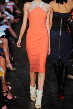 Victoria Beckham Stretchcrepe Dress in Orange (gray) | Lyst