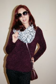 Purple @hm  sweater + #fauxfur infinity scarf are so soft + cozy!:  http://www.thepurplescarf.ca/2014/12/fashion-my-style-soft-warm-cozy.html #fashion #style #mystyle #thepurplescarf #melanieps #toronto