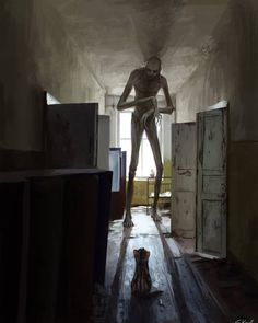 Creepy And Scary Illustrations That Will Literally Creep You Out Cthulhu, Fantasy Creatures, Mythical Creatures, Digital Art Illustration, Art Noir, Arte Obscura, Horror Monsters, Creepy Art, Creepy Horror