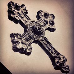 "316 Likes, 25 Comments - David Reveles (@tattoospooky_d) on Instagram: ""Got this #cross ready for a client of mine. #tattoo #crosstattoo #ornate #realism #blackandgrey…"""