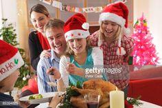 Stock Photo : Family serving christmas dinner
