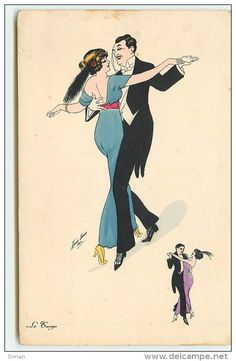 """""""Le Tango"""" ~ Vintage French dance postcard by Xavier Sager, ca. 1910s"""