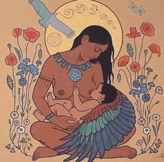 Beautiful artwork 💕 motherhood is so stunning Breastfeeding Art, Mother Art, Mother And Child, Reference Images, Art Reference, Wicca, Birth Art, Sacred Feminine, Goddesses