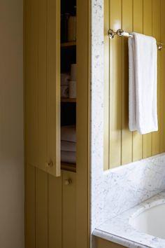Nice bathroom storage cabinets designs made easy Four Square Homes, Wooden Mantel, Heart Pine Flooring, Townhouse Designs, Carriage House, Bathroom Inspiration, Bathroom Ideas, Bathroom Remodeling, Bathroom Trends