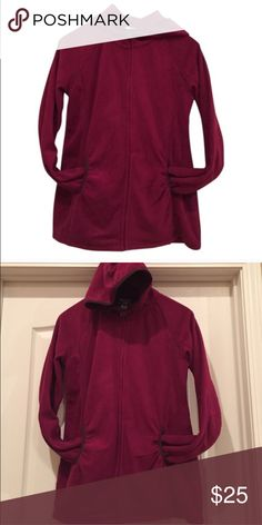 Like new fleece maternity zip up with hood Medium maternity fleece hooded zip up. 100% polyester. Worn once! No pilling or flaws! No modeling. Open to reasonable offers! Color is a combination of maroon and purple Motherhood Maternity Jackets & Coats