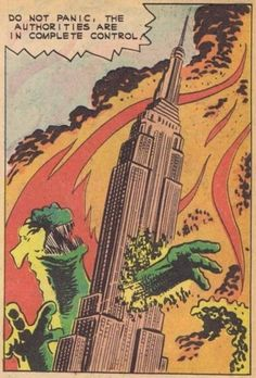 """Do not panic. The Authorities are in complete control."" Steve Ditko - Gorgo for Charlton comics Godzilla Pop Art Retro Comic Illustration Comics Vintage, Vintage Comic Books, Comic Books Art, Comic Art, Book Art, Comics Illustration, Illustrations, Bd Comics, Horror Comics"