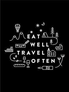 Eat Well Travel Often Print black