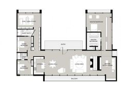U-Shaped House Plans With Courtyard More