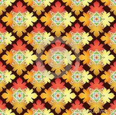 Vector Illustration of Autumn Leaves Abstract Pattern Background.
