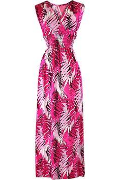 Tropical Leaf Print Empire Waist Maxi Sun Dress