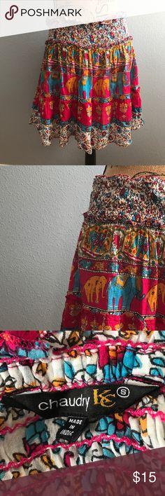"""Boho Chic Colorful Elephant Skirt Boho Chic Colorful Elephant Skirt, Size small, elastic waist, EUC, smoke free home  Length: 18 1/2"""" Waist: 30"""" Skirts"""