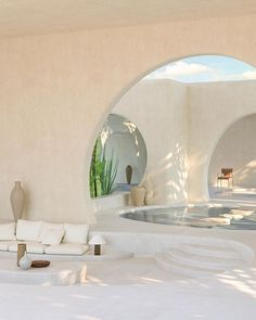 A home that co-exists with the environment, this desert villa is designed to bring the outside colours and textures into the interior creating an oasis like no other. - Collaboratively designed by and . Home Interior Design, Exterior Design, Interior Architecture, Interior And Exterior, Arch Interior, Desert Homes, Aesthetic Rooms, Beige Aesthetic, House Rooms