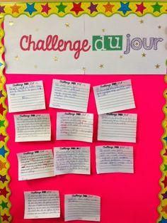 L'univers de ma classe: Le Challenge du Jour