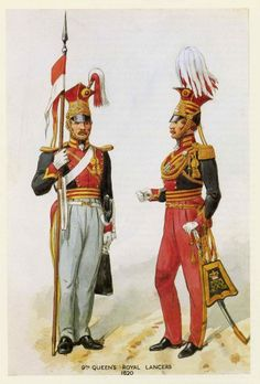 British; 9th Queen's Royal Lancers, Lancer & Officer 1820 by R.Simkin