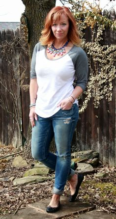 Fashion Fairy Dust baseball tee, distressed skinny jeans, black ballet flats, statement necklace