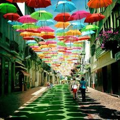 Umbrella instalation in Portugal