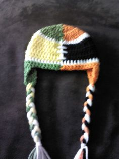 b094aafc203 Oregon ducks vs beavers. House divided OR civil war. Crochet football hat.  Facebook.com crystalscutecreationz