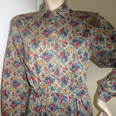 1980s Vintage Lands' End Shirtwaist FLoral Twill Dress, Size 10, Gorgeous Tan Floral, Button Front, NEVER Worn, Vintage Clothing by VictorianWardrobe on Etsy