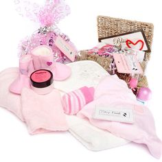 Mother and Baby Girl Hamper available from £20 via www.tinyfeethampers.co.uk Baby Girl gift including pamper items for mum. #babygift #babygirl #babyshower Deliver UK.