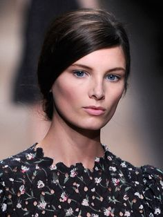 "Valentino Spring 2013: ""It's very feminine,"" makeup artist Pat McGrath said of the natural flush she was seeking. Though it did require a bit of mixing: She combined a few shades of pink blush to create a rosy hue that she dusted onto the apples of the cheeks and blended out to the sides."