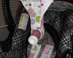 CAR SEAT SET; pink girls bottle sling, strap covers