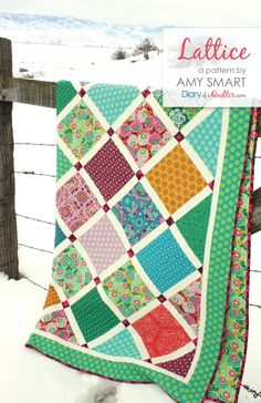 Lattice Quilt pattern PDF by Amy Smart - Layer Cake, pre-cut friendly quilt pattern. Great for showing off large scale fabrics and prints