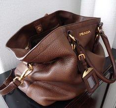 Brown Prada handbag.  Love this slouchy bag!