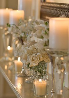 ...white candles and flowers....