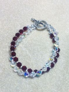 "Beaded Swarovski Garnet & Crystal Clear AB 2 strand Bracelet 8""  #Handmade #Beaded"