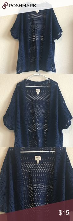 Plus Size Navy Blue Knit Cardigan Only worn twice! Perfect to cover up your arms but not too heavy. Good length. One stretched out hole where I caught it on a hanger in my closet. When you're wearing it, you don't even notice the issue. St. John's Bay Sweaters Cardigans